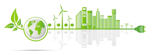 Ecology and environmental concept, earth symbol with green leaves around cities help the world with eco-friendly ideas Premium Vector