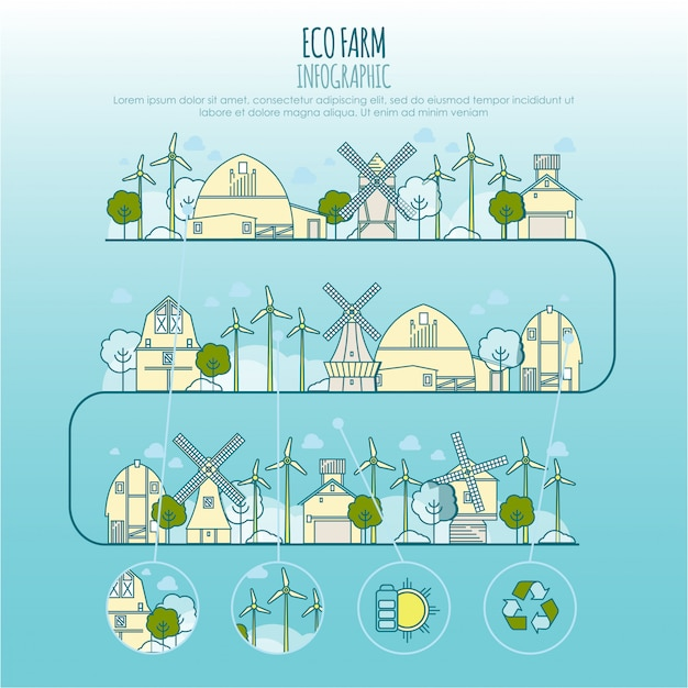 生態ファームインフォグラフィック。エコファーム技術、地元の環境の持続可能性、町のエコロジーの細い線アイコンのテンプレート Premiumベクター