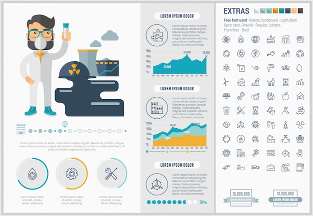 Ecology flat design infographic template and icons set Premium Vector