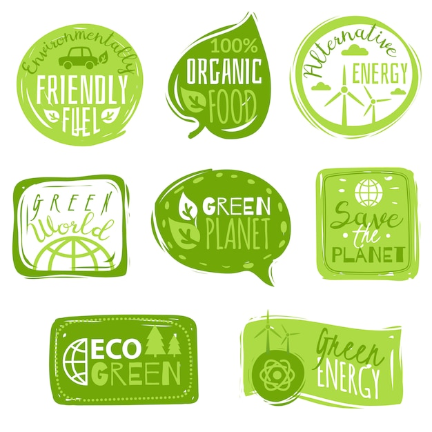 Ecology flat icon emblems set Premium Vector