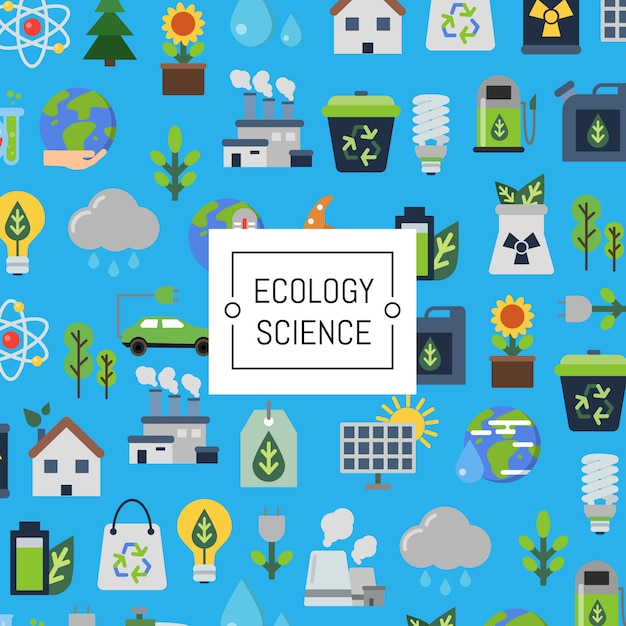 Ecology flat icon set Premium Vector