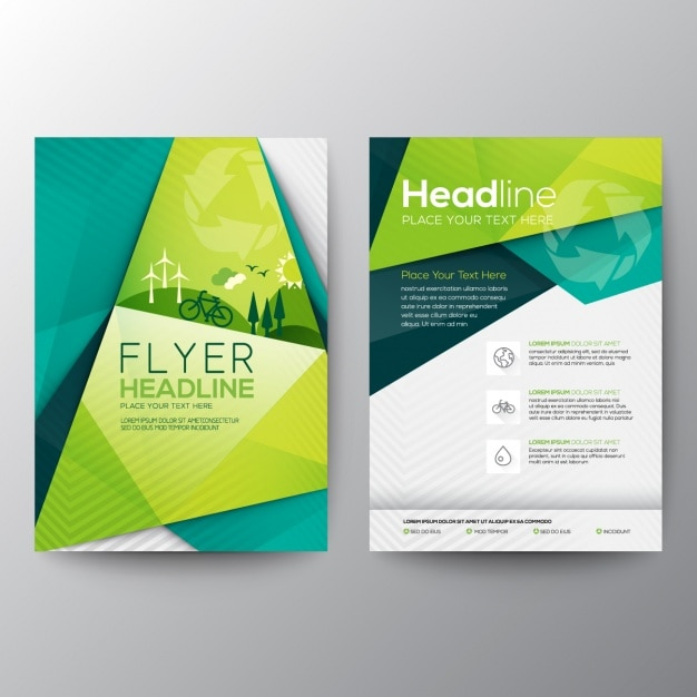 environment brochure template - ecology flyer template vector free download