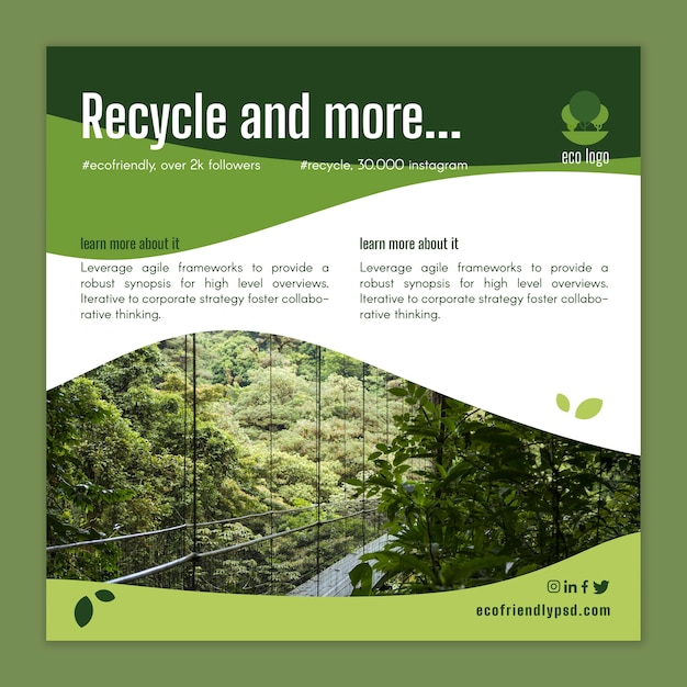 Ecology flyer template Free Vector