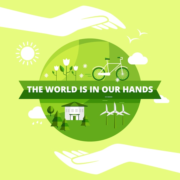 Ecology friendly design with world in hands sun and clouds Free Vector