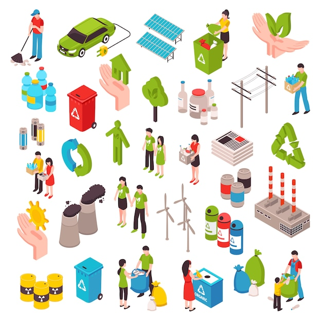 Ecology and garbage isometric set Free Vector