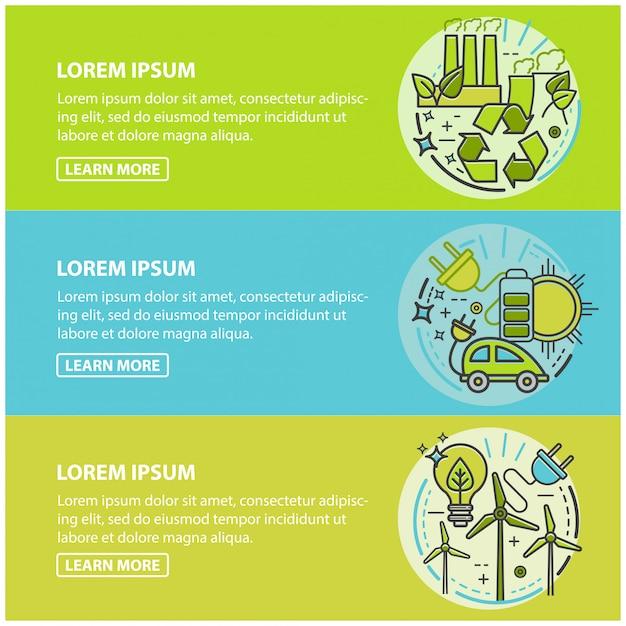 エコロジー、グリーンテクノロジー、オーガニック、バイオ。漫画バナー Premiumベクター