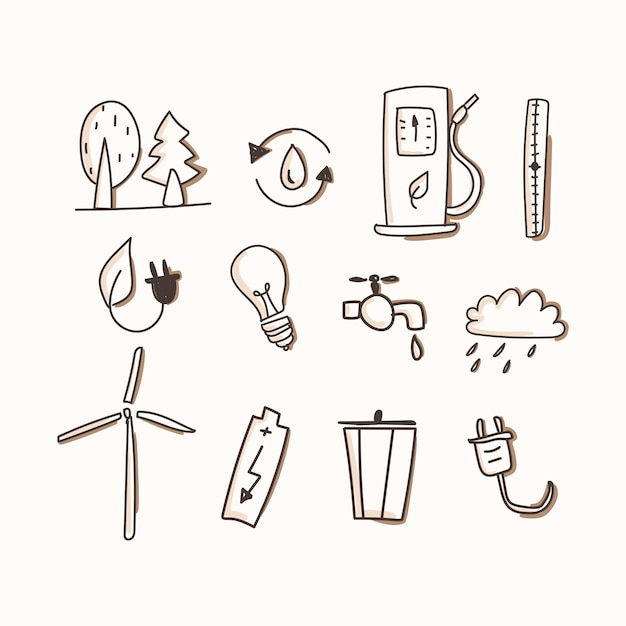 Ecology of icon set. hand draw Premium Vector