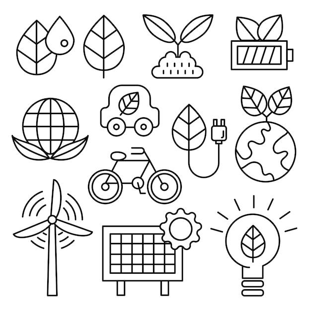 Ecology icon set. Premium Vector