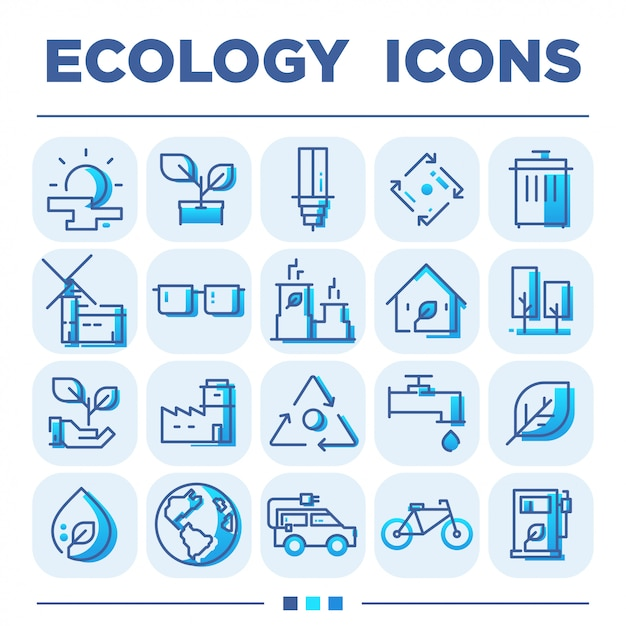 Ecology icon sets Premium Vector