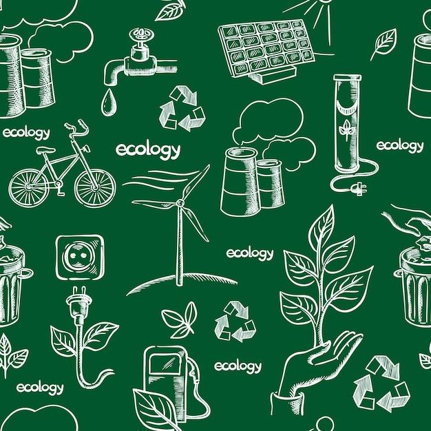 エコロジーアイコンシームレス Premiumベクター