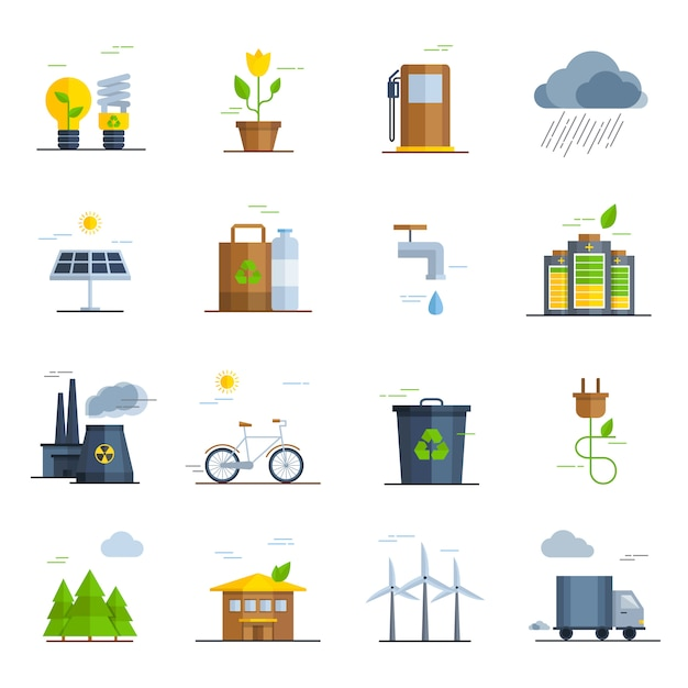 Ecology icons set Free Vector
