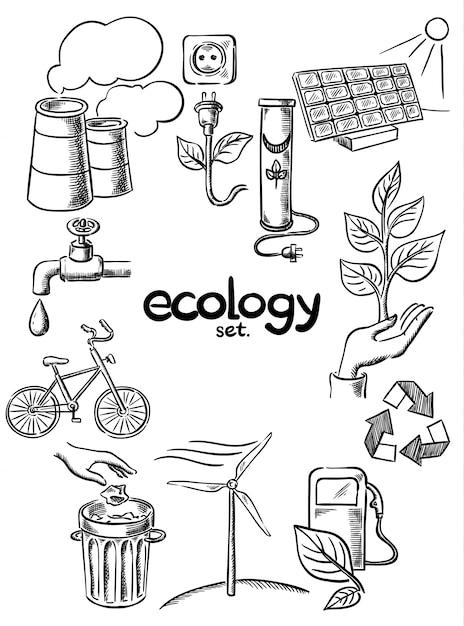 エコロジーアイコンが設定 Premiumベクター