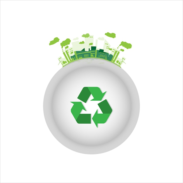 Ecology Industrial Factory With Green Recycle Symbol Vector