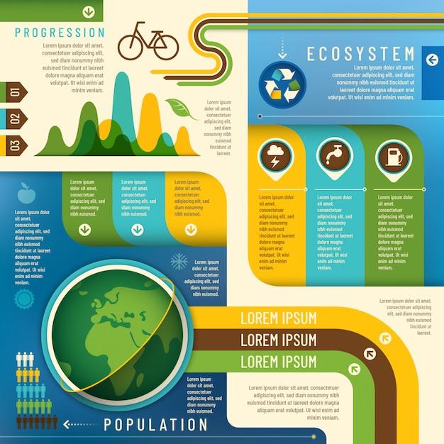 Ecology info graphic Premium Vector