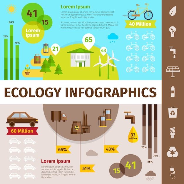 Ecology infographic set with nature and\ pollution symbols