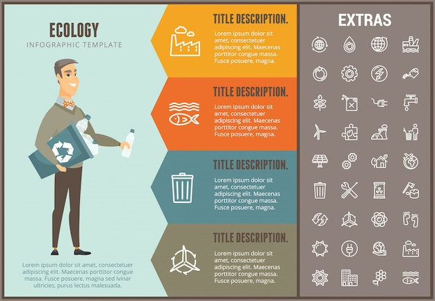 Ecology infographic template, elements and icons Premium Vector