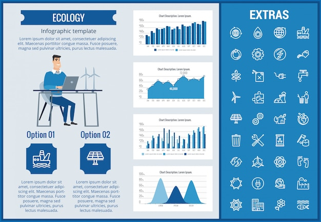 Ecology infographic template, elements and icons. Premium Vector