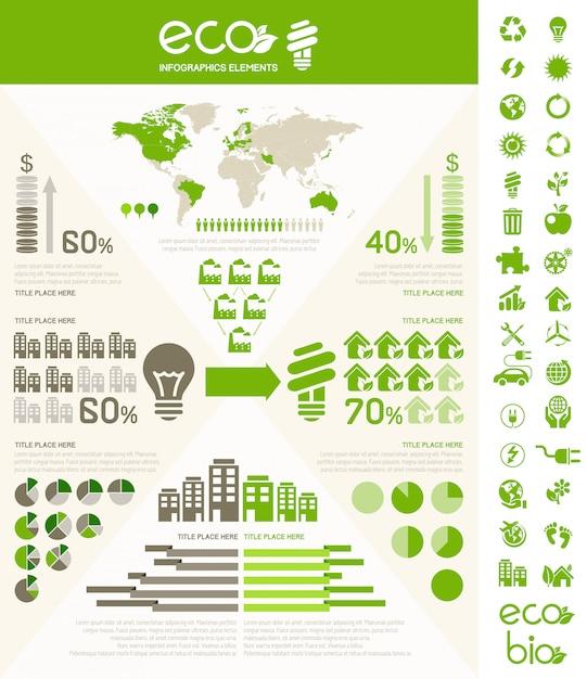 Ecology infographic template. Premium Vector