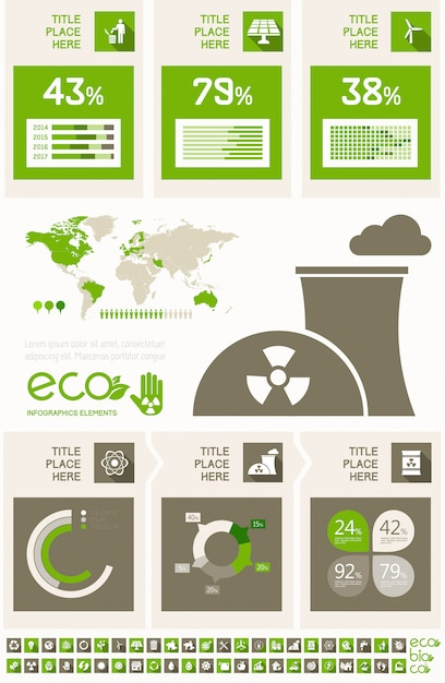 Ecology infographic template. Premium Vector