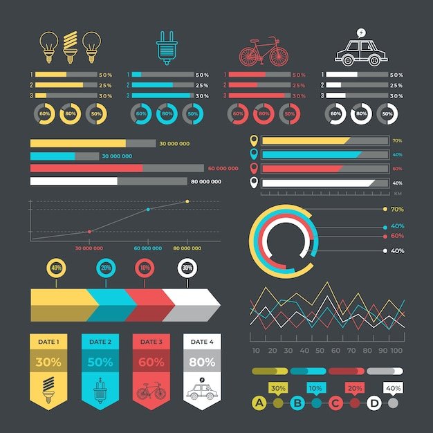Ecology infographic with retro colors in flat design Free Vector