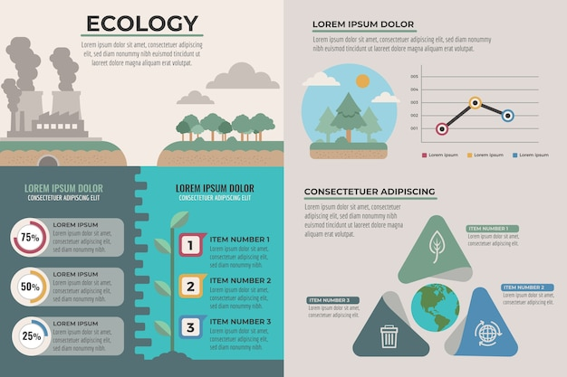 Ecology infographics charts concept Free Vector