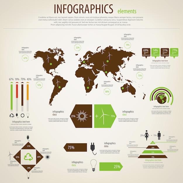 生態インフォグラフィックセット。世界地図と情報グラフィック。 Premiumベクター