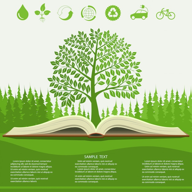Ecology infographics  with green tree and opened book Premium Vector