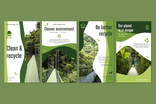 Ecology instagram stories collection Premium Vector