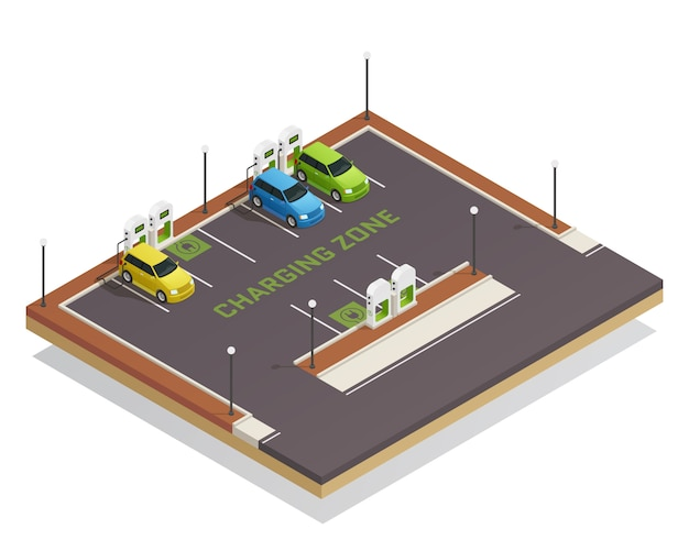 Ecology isometric electric vehicles charging Free Vector