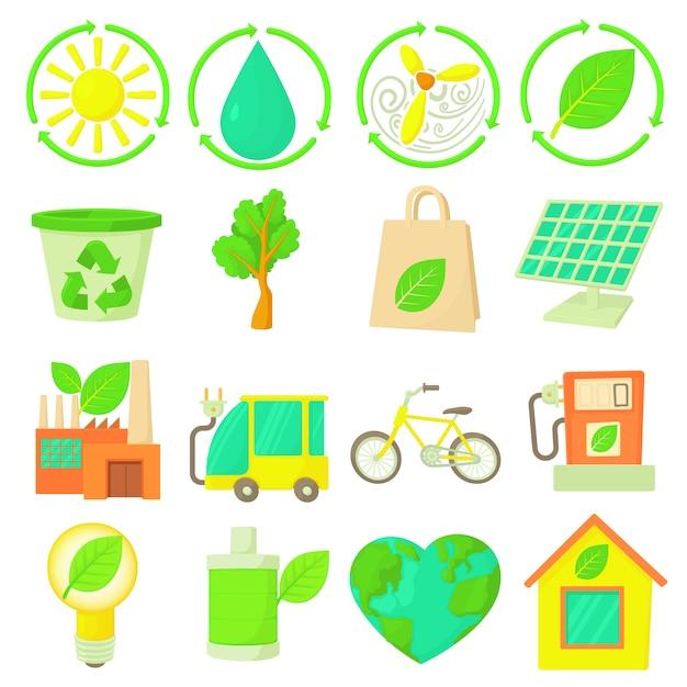 Ecology items icons set Premium Vector