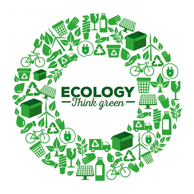 Ecology label with renewable element to protection Premium Vector