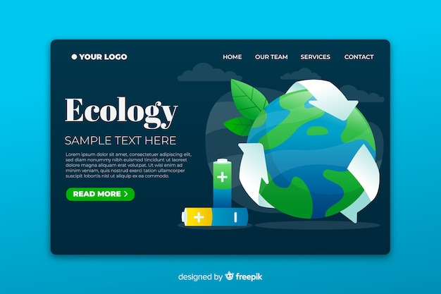 Ecology landing page based on recycling Free Vector