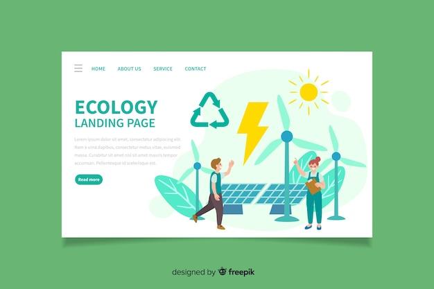 Ecology landing page flat design Free Vector