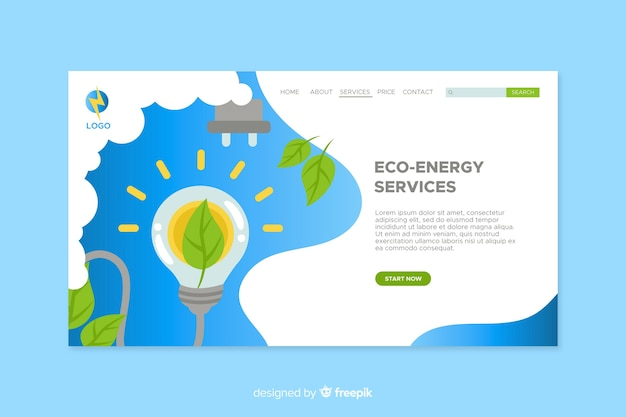 Ecology landing page flat design Free Vector