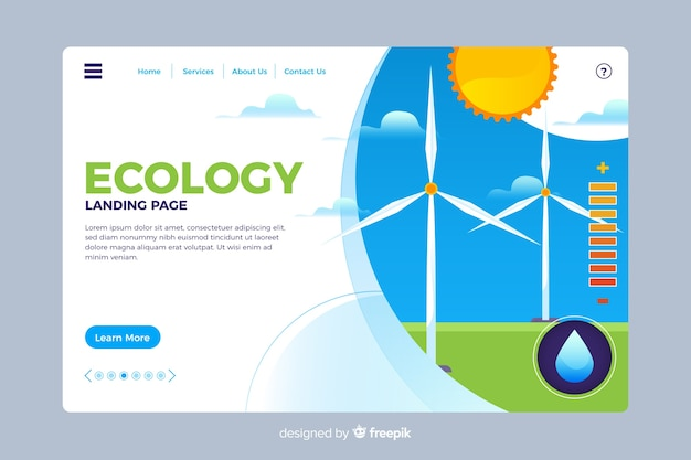 Ecology landing page flat style Free Vector