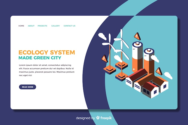 Ecology landing page isometric design Free Vector