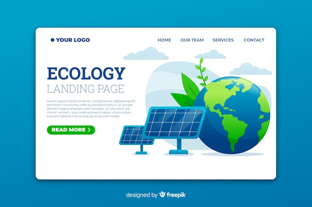 Ecology landing page template with solar panels Free Vector