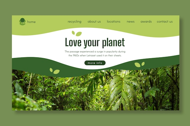 Ecology landing page template Premium Vector
