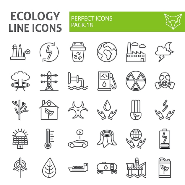 Ecology line icon set, eco collection vector sketches, Premium Vector