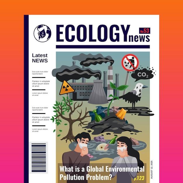 Modello di copertina della rivista di ecologia Vettore gratuito