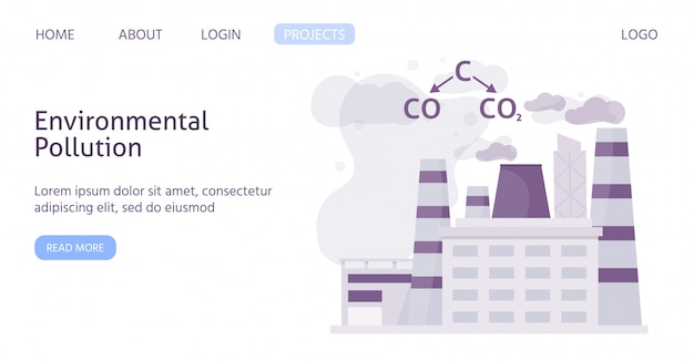 Ecology of polluted industrial city with chemical formula of air polution flat web template illustration. Premium Vector