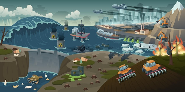 生態系汚染、森林破壊、山火事、自然破壊地球規模の問題 無料ベクター