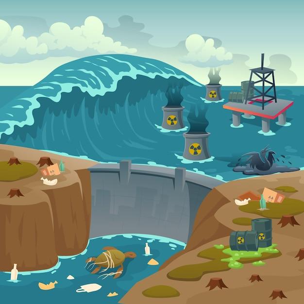 Inquinamento ecologico, torre di petrolio nell'oceano inquinato e barili con liquido tossico che galleggia sulla superficie dell'acqua di mare sporca con diga e animali morenti, spazzatura, problema ecologico, fumetto Vettore gratuito