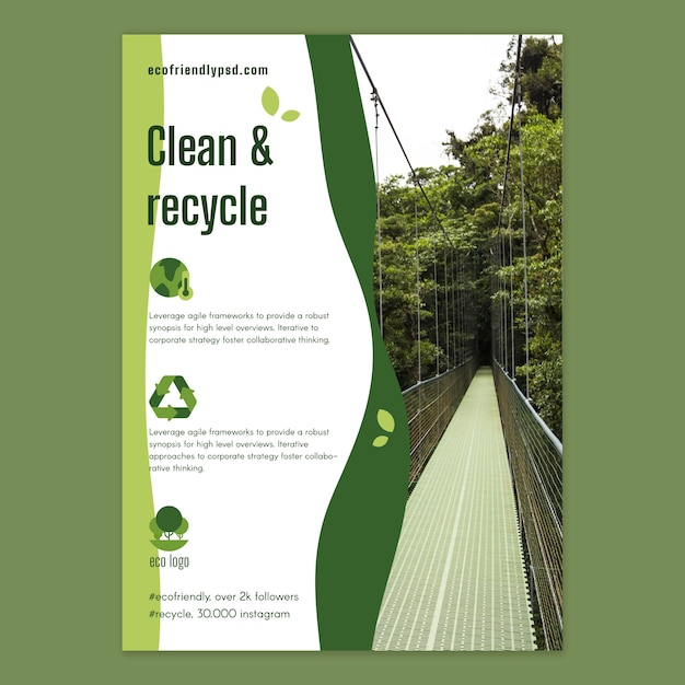 Ecology poster template Free Vector