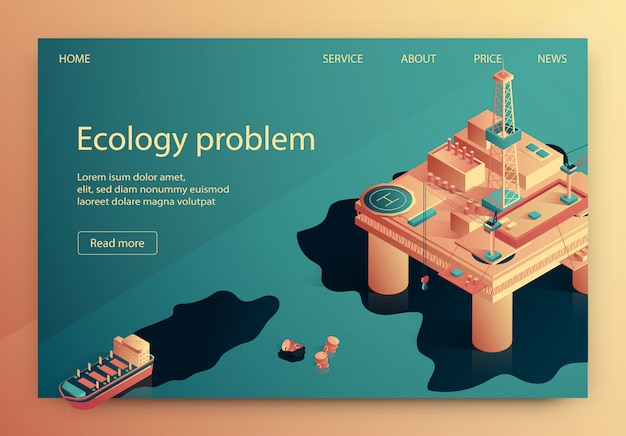 Ecology problem vector illustration isometric. Premium Vector