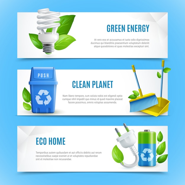 Ecology realistic paper banner set Free Vector