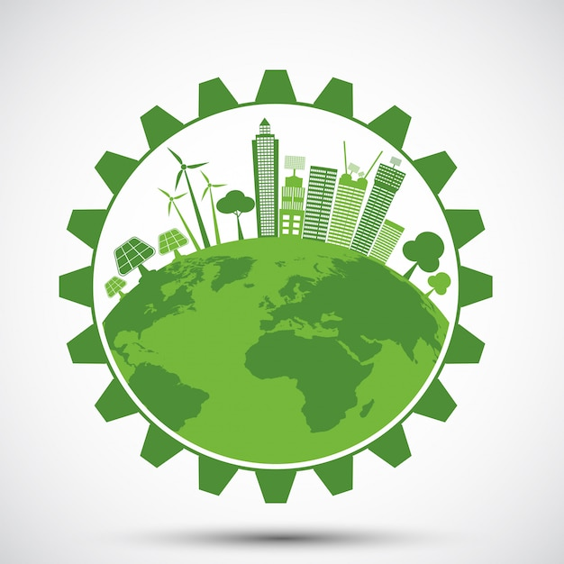 Ecology saving gear concept and environmental sustainable energy development Premium Vector