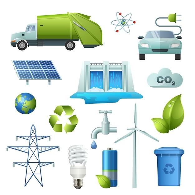 Набор иконок символы экологии Бесплатные векторы