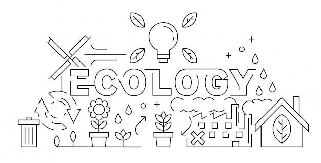 Ecology theme of  thin line design Premium Vector
