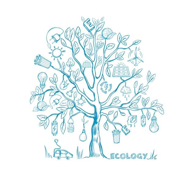 Schizzo dell'albero di ecologia Vettore gratuito